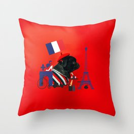 Proud Pug from Paris Throw Pillow