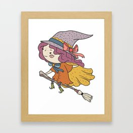 Happy Flying Witch Framed Art Print