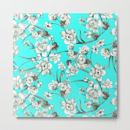 Modern teal brown white abstract floral Metal Print