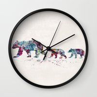 bears Wall Clocks featuring Bears by Watercolorist