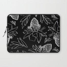 Tropical Ginger Plants in Black + White Laptop Sleeve