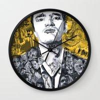 quentin tarantino Wall Clocks featuring Tarantino by Matthew Brazier Illustration