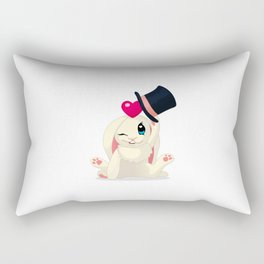 cute cartoon Funny Bunny with topper Rectangular Pillow