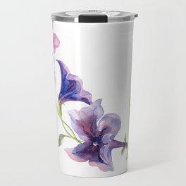 Watercolor branch of petunia. Travel Mug