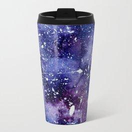 Abstract blue purple watercolor white paint splatters Travel Mug