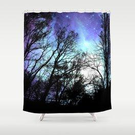 black trees periwinkle blue aqua space Shower Curtain