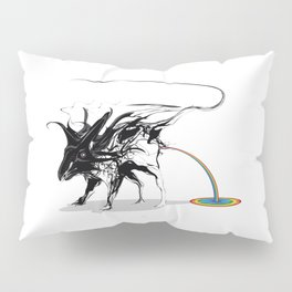 Rat and rainbow. Black on white background-(Red eyes series) Pillow Sham