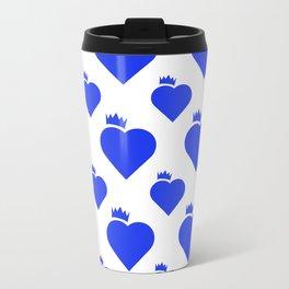 Crown Heart Pattern Blue Travel Mug