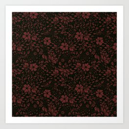 Abstract Geometric - kind of damasc french style wrapping paper - burgundy red and black Art Print