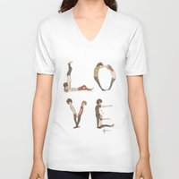letters V-neck T-shirts featuring Love Letters by Meuphrosyne