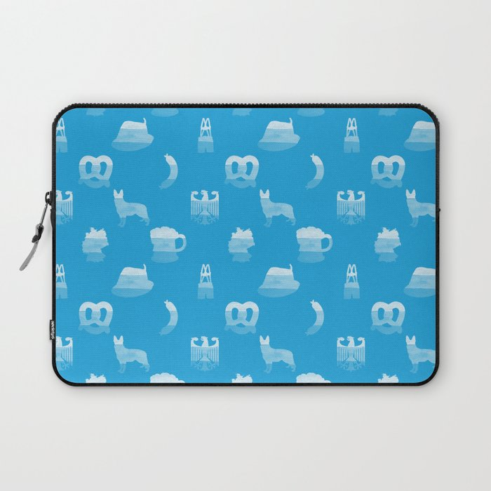 Oktoberfest Bavarian October Beer Festival Motifs in Bavarian Blue Laptop Sleeve