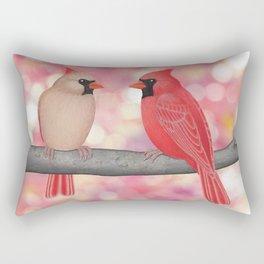 cardinals and sun-kissed bokeh Rectangular Pillow