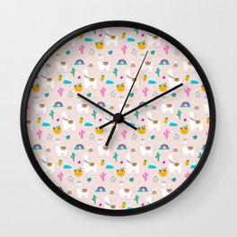 Cute Llama Fiesta Wall Clock