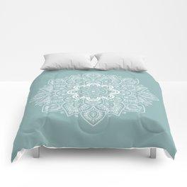 Temptation Mandala on Milky Blue Background Comforters