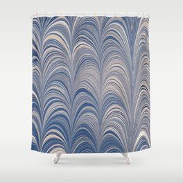 Marbled Blue and Gold Fountain Shower Curtain