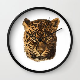 Leopard portrait, animals, big cat, leopard face Wall Clock