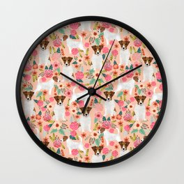 Jack Russell Terrier florals cute pastel flowers gardener with dog pet lover dog art pet portraits  Wall Clock