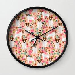 Jack Russell Terrier florals cute pastel flowers gardener with dog pet lover dog art pet portraits  Wall Clock