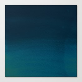 Navy blue teal hand painted watercolor paint ombre Canvas Print