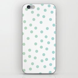 Simply Dots in Turquoise Green Blue Gradient on White iPhone Skin
