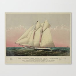 Vintage Schooner Yacht Illustration (1870) Canvas Print