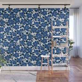 Hibiscus and Plumeria - Blue Wall Mural