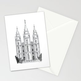 Salt Lake LDS Temple Ink Drawing Stationery Cards