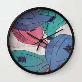 Passionfruit in three colours Wall Clock