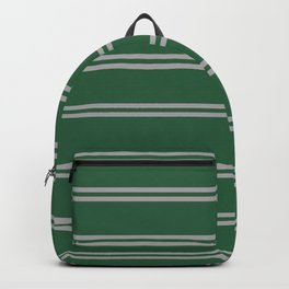 Green and Silver House Colors Stripes Backpack