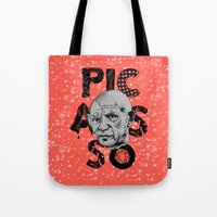 pablo picasso Tote Bags featuring Pablo Picasso - History of Art by RJ Artworks