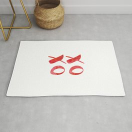 xoxo red watercolor Rug