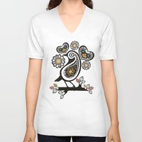scandinavian V-neck T-shirts featuring Scandinavian meets paisley bird hearts flowers by The Big M Ranch