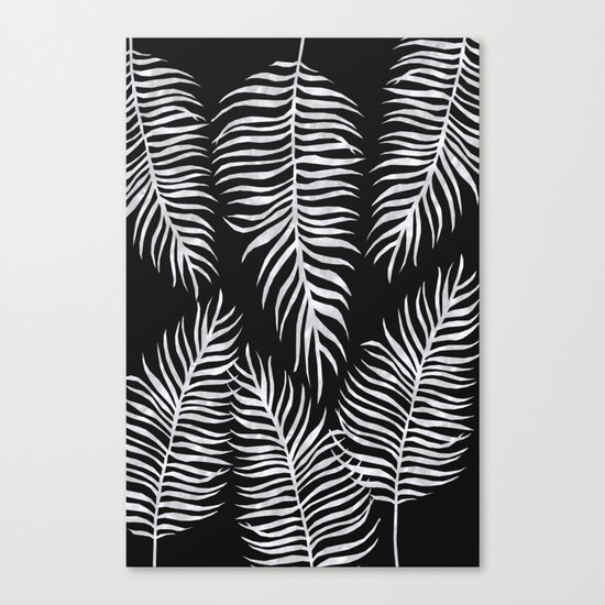 Fern Pattern Black And White Canvas Print