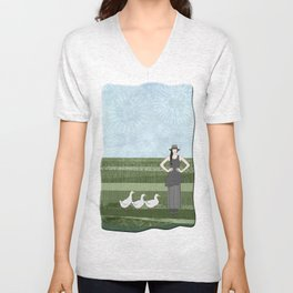 Pekin duck lady Unisex V-Neck