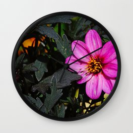 Dark-Leaved Purple Dahlia, Beautiful Nature Photography Wall Clock