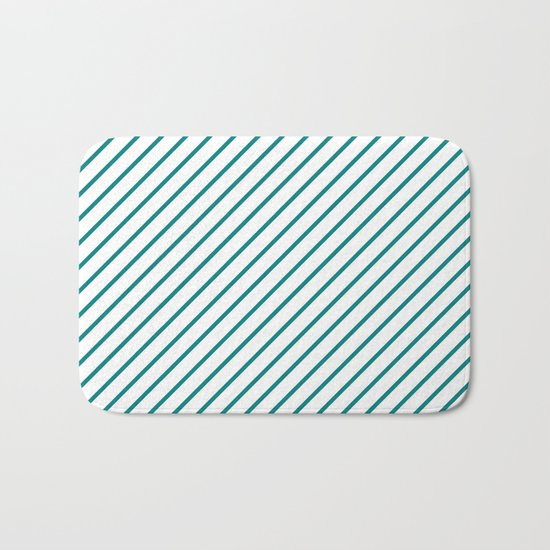 Diagonal Lines (Teal/White) Bath Mat
