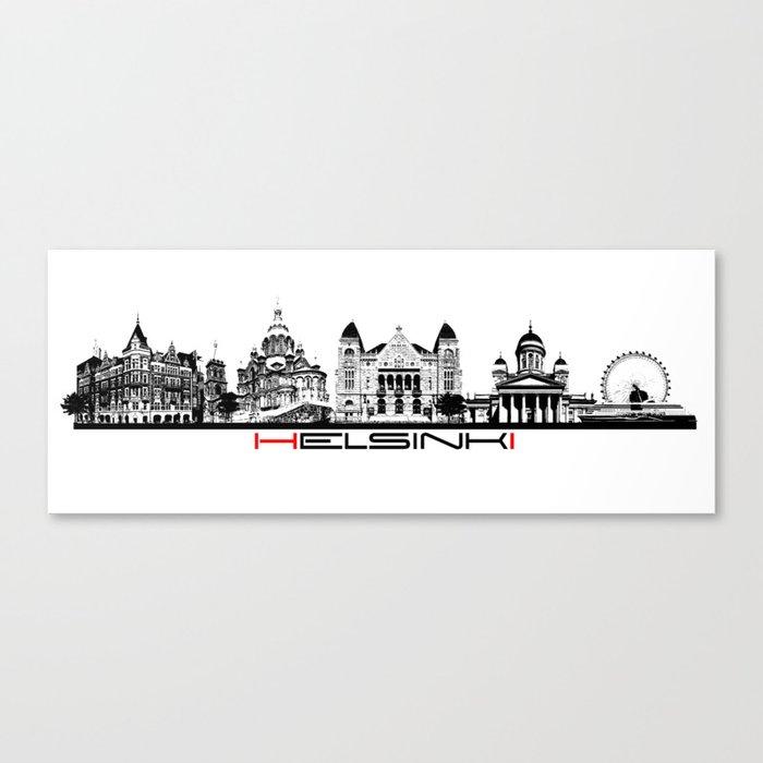 Helsinki skyline black Canvas Print