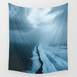 Moody Black Sand Beach in Iceland - Landscape Photography Wall Tapestry