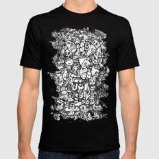 Misspent Youth Watercolor Doodle Mens Fitted Tee MEDIUM Black