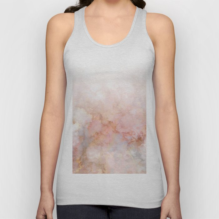 Beautiful Pink and Gold Ombre marble under snow Unisex Tank Top