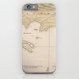 Vintage Map Print - Plan of the Harbour and Isthmus of Darien (1743) iPhone Case