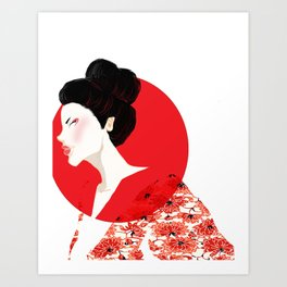 Geisha Girl In White Art Print