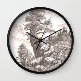 OLD HEMLOCK RUSTIC MOUNTAIN CABIN PEN DRAWING Wall Clock