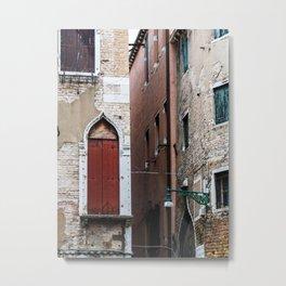 Red door in venice Metal Print