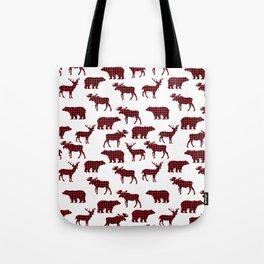 Plaid camping animals minimal bear moose deer nursery decor gender neutral woodland Tote Bag
