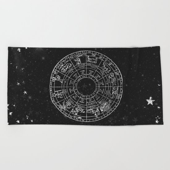 Black and White Vintage Star Map Beach Towel
