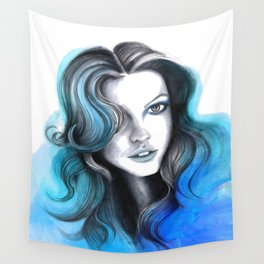 Aqua and Dark Blue Flame Hair Wall Tapestry