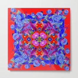 Red Garden Art  Blue Morning Glories Purple Patterns Metal Print