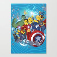superheroes Canvas Prints featuring Superheroes by Adrien ADN Noterdaem
