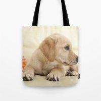 labrador Tote Bags featuring Labrador puppy by Elisabeth Coelfen